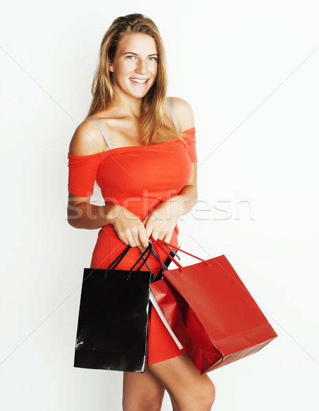 young modern blond woman with diverse bags  posing emotional on white background, sale, lifestyle pe Stock photo © iordani