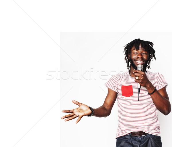 Jovem bonito africano americano menino cantando Foto stock © iordani