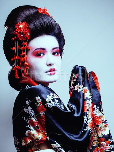 молодые довольно гейш кимоно сакура красный Сток-фото © iordani