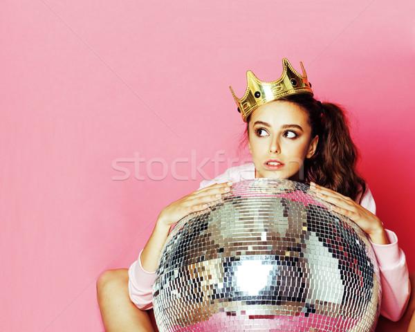 молодые Cute дискотеку девушки розовый Disco Ball Сток-фото © iordani