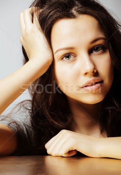 Stock photo: young pretty stylish hipster girl posing emotional isolated on w