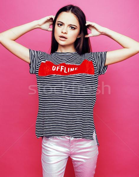 Młodych cute disco dziewczyna różowy uśmiechnięty Zdjęcia stock © iordani