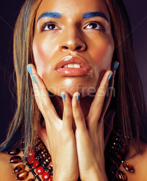 Jonge afro-amerikaanse vrouw creatieve make-up zoals Stockfoto © iordani