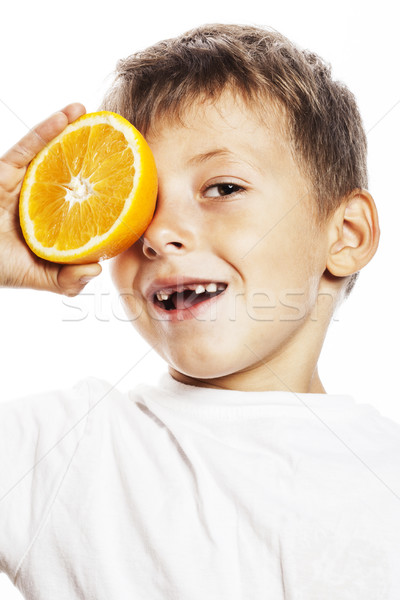 Mały cute chłopca pomarańczy podwoić odizolowany Zdjęcia stock © iordani