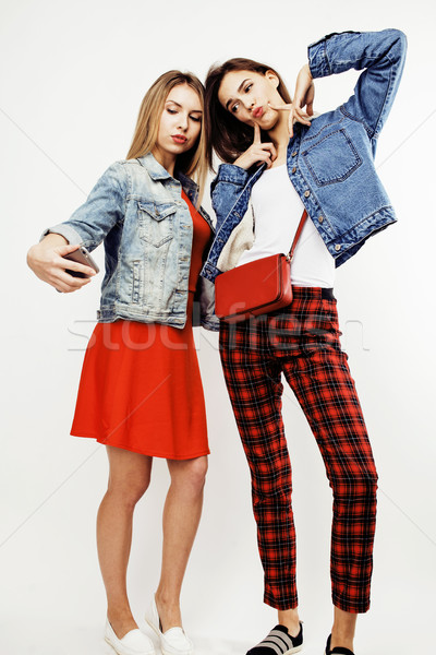 Stock photo: best friends teenage girls together having fun, posing emotional on white background, besties happy