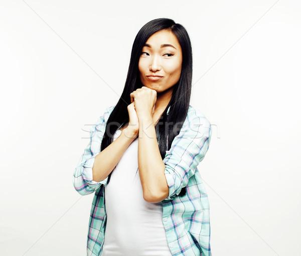 Fiatal csinos ázsiai nő pózol derűs Stock fotó © iordani