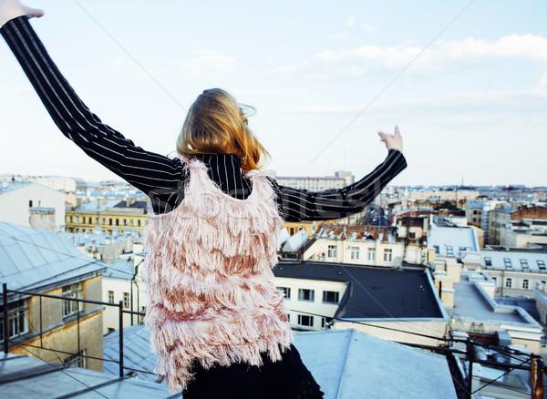 Jovem bastante moda senhora telhado topo Foto stock © iordani
