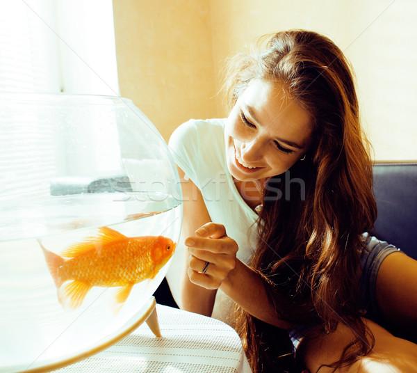 きれいな女性 演奏 金魚 ホーム 日光 午前 ストックフォト © iordani