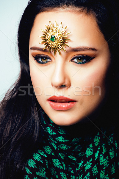 beauty eastern real muslim woman with jewelry close up, bride wi Stock photo © iordani