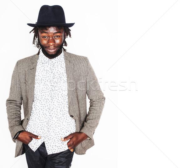 Jonge knap afro amerikaanse jongen stijlvol Stockfoto © iordani