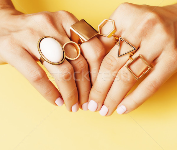 womans hand taking picture of her new manicure with fashion jewellery on her phone, girls stuff conc Stock photo © iordani