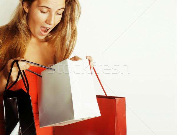 Genç güzel sarışın kadın çanta Noel Stok fotoğraf © iordani