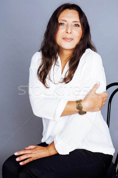 érett barna hajú igazi középső kor nő Stock fotó © iordani