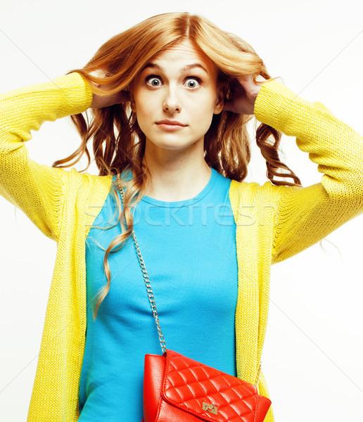 Jonge mooie vrouw weinig cute handtas poseren Stockfoto © iordani