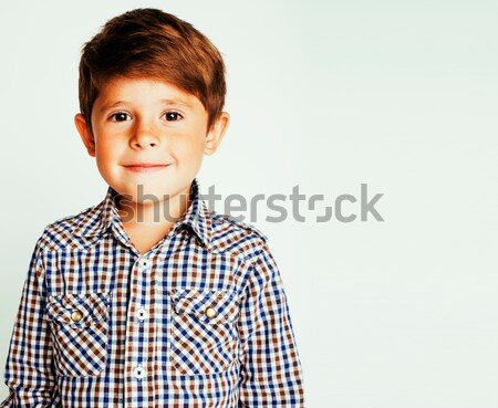 young pretty little cute boy kid wondering, posing emotional face isolated on white background, gest Stock photo © iordani