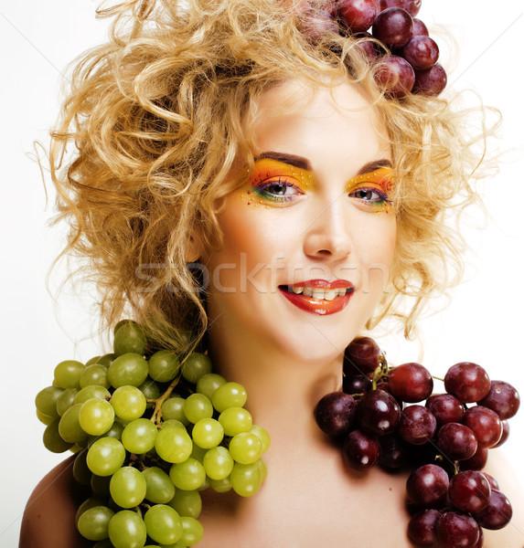 Belo mulher jovem retrato animado sorrir fantasia Foto stock © iordani