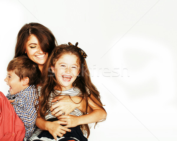 young mother with two children on white Stock photo © iordani