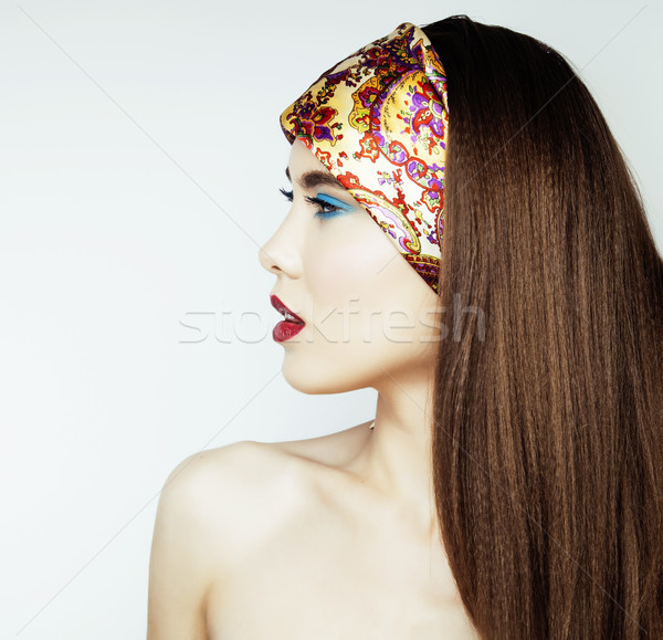 ストックフォト: セクシー · 美 · 少女 · 赤い唇 · 爪 · 挑発的