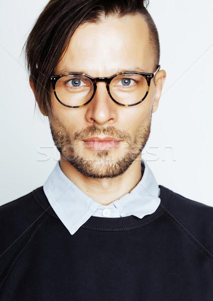 Przystojny środkowy wiek człowiek nowoczesne fryzura Zdjęcia stock © iordani