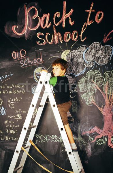 Stockfoto: Weinig · cute · echt · jongen · Blackboard · klas