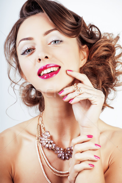 beauty young luxury woman with jewellery, rings, nails close up  Stock photo © iordani