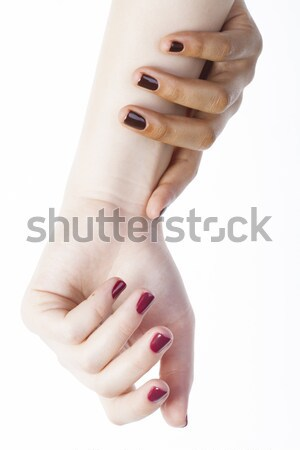 two different nathion manicured hands on white isolated, african with caucasian close up Stock photo © iordani