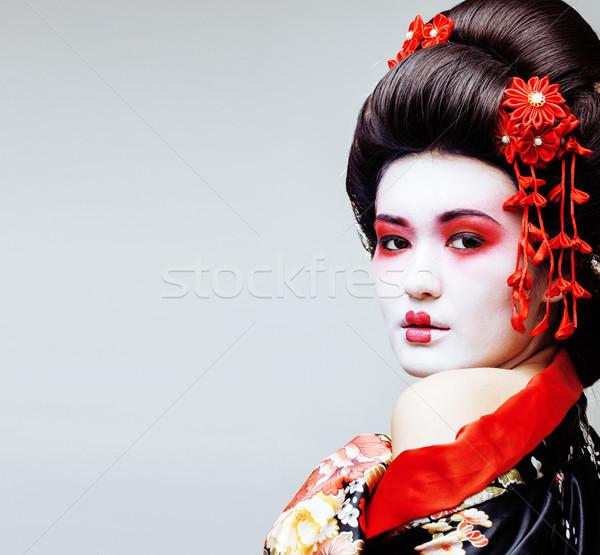 молодые довольно гейш черный кимоно сакура Сток-фото © iordani