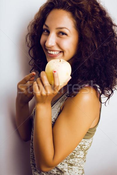 かなり 小さな 本当の 少女 食べ リンゴ ストックフォト © iordani