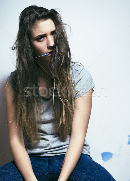 problem depressioned teenage with messed hair and sad face Stock photo © iordani