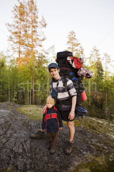 young happy father traveling with little son and huge backpack, lifestyle people concept Stock photo © iordani