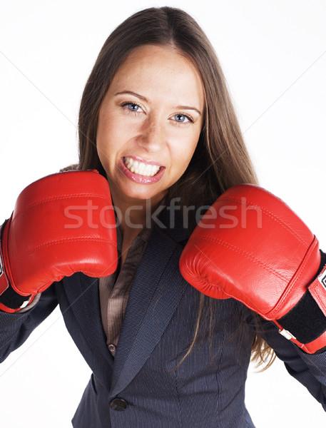 Portrait femme d'affaires boxe rouge gants affaires Photo stock © iordani