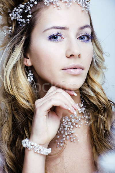 beauty young snow queen with hair crown on her head, complicate  Stock photo © iordani