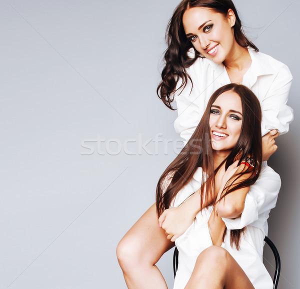2 姉妹 双子 少女 ポーズ ストックフォト © iordani
