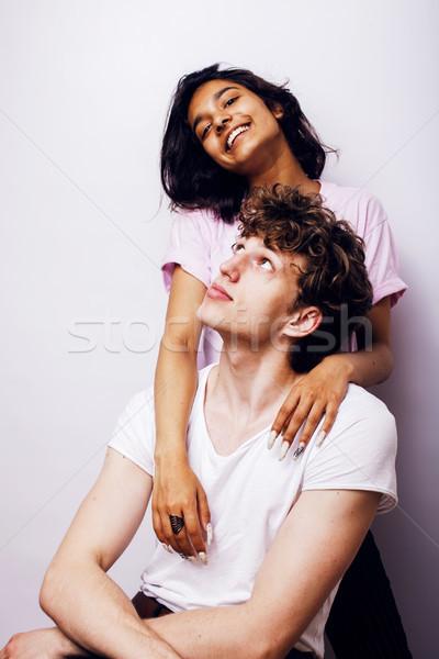 Stockfoto: Gemengd · vriendin · vriendje · witte