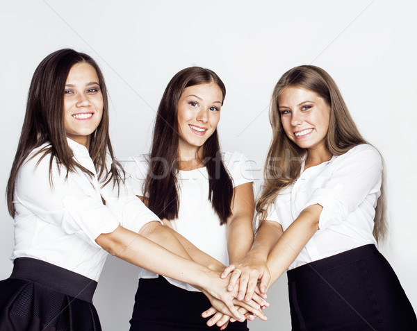 lot of businesswomen happy smiling celebrating success of team victory on work, dress code black and Stock photo © iordani