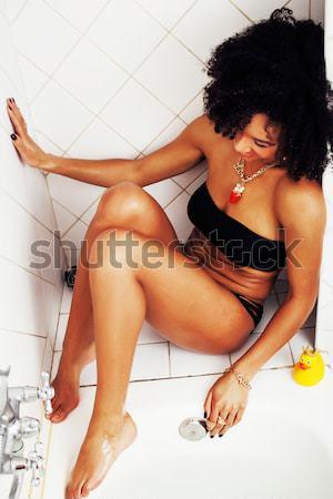 Giovani teen girl bagno schiuma indossare Foto d'archivio © iordani