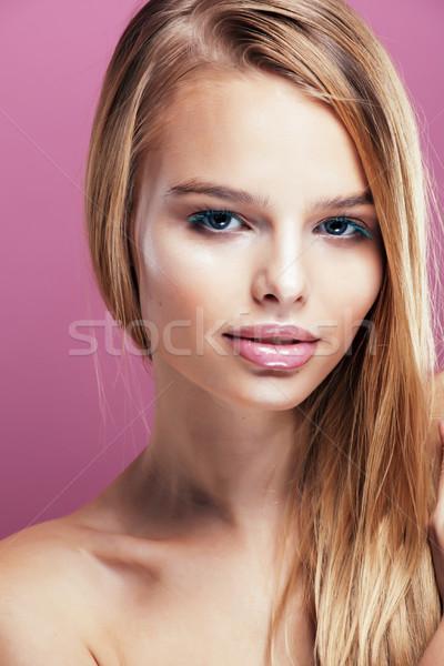 Stock fotó: Fiatal · csinos · szőke · nő · hajviselet · közelkép · smink
