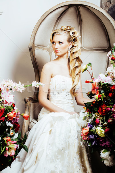beauty young bride alone in luxury vintage interior with a lot o Stock photo © iordani
