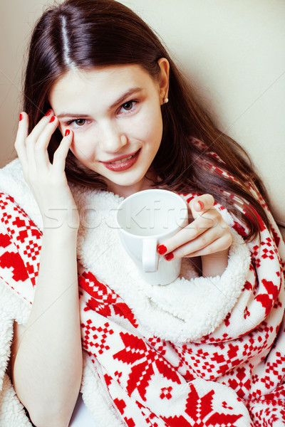 young pretty brunette girl in Christmas ornament blanket getting warm on cold winter, freshness beau Stock photo © iordani