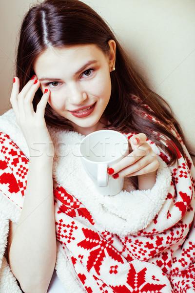 Stock fotó: Fiatal · csinos · barna · hajú · lány · karácsony · dísz