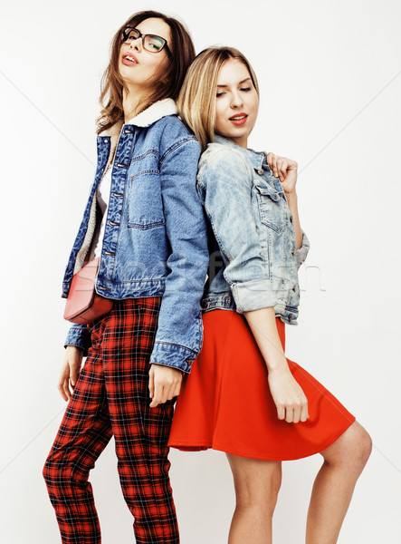 lifestyle people concept: two pretty stylish modern hipster teen girl having fun together, happy smi Stock photo © iordani