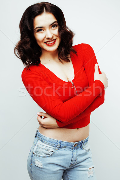 young pretty brunette woman smiling happy on white background, lifestyle people concept Stock photo © iordani