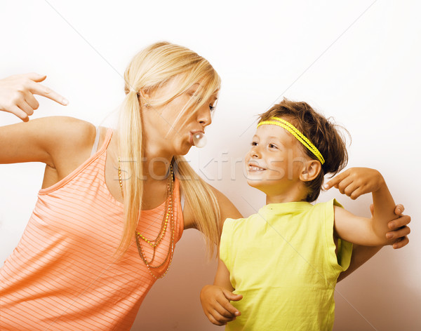 Grappig moeder zoon bubble gom Stockfoto © iordani