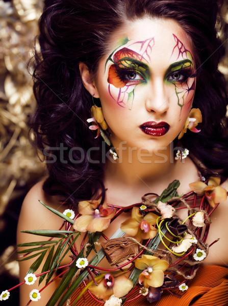 Schoonheid vrouw gezicht kunst sieraden bloemen orchideeën Stockfoto © iordani