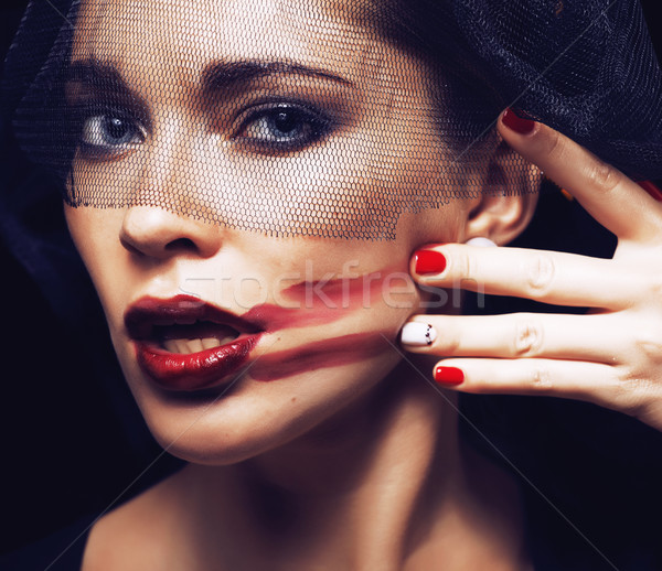 beauty brunette woman under black veil with red manicure close up Stock photo © iordani
