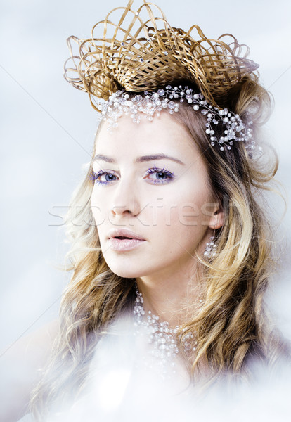 beauty young snow queen in fairy flashes with crown on her head Stock photo © iordani