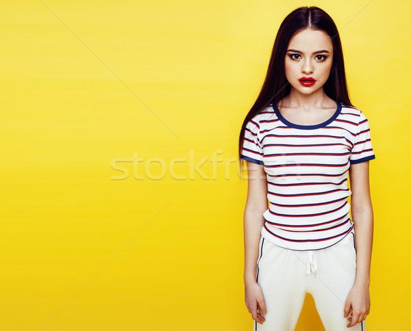 Genç güzel uzun saçlı kız Stok fotoğraf © iordani