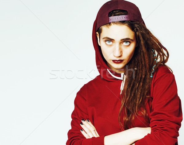 Stock photo: real caucasian woman with dreadlocks hairstyle funny cheerful fa
