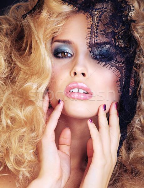 Portré szépség szőke fiatal nő csipke közelkép Stock fotó © iordani