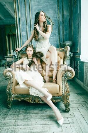 Dois bastante gêmeo irmã loiro Foto stock © iordani